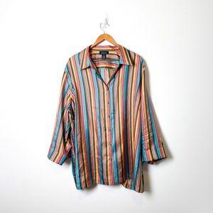 Jones New York Silk Striped Button Up Blouse